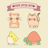 Cute little pet in neighbourhood stock illustration