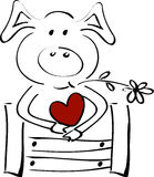 Cute little pig with a heart Stock Photo