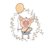 Cute little pig standing with the balloon in a hand. Funny vector illustration in cartoon style on background with branch with leaves Royalty Free Stock Photo