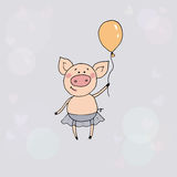 Cute little pig standing with the balloon in a hand. Funny vector illustration in cartoon style on blue background with circles and hearts Royalty Free Stock Image