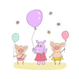 Cute little pigs and baby hippo. Standing with the balloon in a hand. Funny vector illustration in cartoon style Stock Image