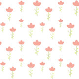 Cute little pink flower on white background simple minimal seamless pattern illustration Royalty Free Stock Photo