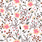 Cute little pink flowers seamless pattern background. vector Stock Photo