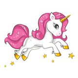Little pink unicorn. Design for children. Stock Photo