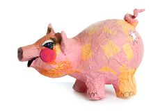 Cute little pink pig cartoon handmade toy on white Royalty Free Stock Images