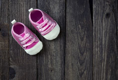 Cute little pink shoes. Stock Photo