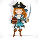 Cute little pirate girl with cutlass and treasure chest Stock Image