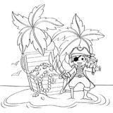 Cute little pirate and treasure chest on deserted beach with palm trees. Black and white illustration for coloring book. Vector isolated illustration vector illustration