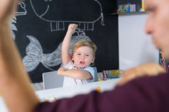 Cute little toddler boy at child therapy session. Royalty Free Stock Photography