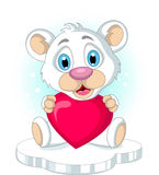 Cute little polar bear holding heart love Royalty Free Stock Photo