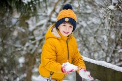 Cute little preschool boy, playing outdoors with snow on a winter day. Snowing royalty free stock photo