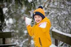 Cute little preschool boy, playing outdoors with snow on a winter day. Snowing royalty free stock photos