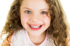 Cute little preschooler girl with chocolate milk Royalty Free Stock Images