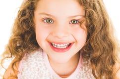 Cute little preschooler girl with chocolate milk Stock Photography