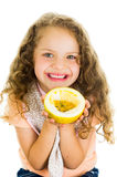 Cute little preschooler girl holding a passion Royalty Free Stock Photo