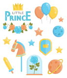 Cute little prince icons Royalty Free Stock Image