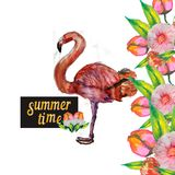 Cute Little Princess Abstract Background with Pink Flamingo Illustration. FLOWER Royalty Free Stock Photos