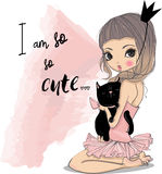 Cute little princess with black cat Stock Photos