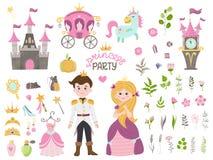 Free Cute Little Princess Cinderella Set Objects Royalty Free Stock Photo - 164219965