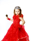Cute little princess dressed in red isolated on white background Stock Photos