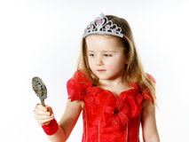 Cute little princess dressed in red isolated on white background Royalty Free Stock Image