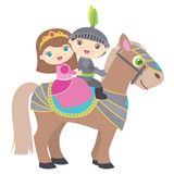 Cute Little Princess and Knight Riding a Horse Flat Vector Illustration Isolated on White stock image