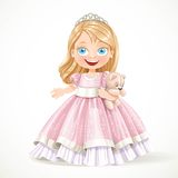 Cute little princess in magnificent pink dress with teddy bear Royalty Free Stock Image