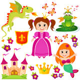 Cute little princess, mermaid, fairytale frog, castle, dragon, crown, shield, flowers and butterflies Royalty Free Stock Image