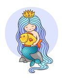 Cute little princess mermaid, sitting on a rock, holding big golden fish. vector illustration