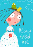 Cute Little Princess with Prince Frog Reading. Colorful a4 cute card with a sign for a little child about reading books Stock Images