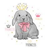 Cute little princess rabbit. royalty free illustration