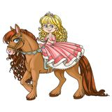 Cute little princess riding on a horse Stock Photo