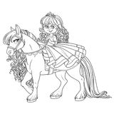 Cute little princess riding on a white horse outlined Stock Photography