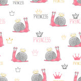 Cute little princess snail pattern. royalty free illustration