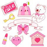 Cute little princess sticker collection. Cute little princess sticker set - Teddy bear, heart, lipstick, jelly with cherry, bow, key, ribbon, inscription so cute Royalty Free Stock Images
