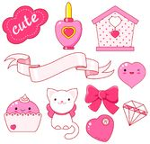 Cute little princess sticker collection. Cute little princess sticker set - cat, heart, nail polish, cupcake, bow, diamond, small house, ribbon, inscription so Stock Photography