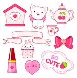 Cute little princess sticker collection Royalty Free Stock Image