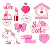 Cute little princess sticker collection. Cute little princess sticker set - unicorn, heart, lipstick, cupcake, bow, letter, ribbon, inscription so cute. EPS8 Royalty Free Stock Image