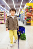 Cute little and proud boy helping with grocery shopping, healthy Royalty Free Stock Photo