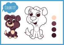 Cute little puppy. Cartoon vector character  on a white background with black outline. Stock Images
