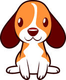 Cute little puppy. Dog happily standing and smiling  illustration Royalty Free Stock Photo
