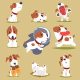 Cute little puppy in his evereday activity set, dogs daily routine funny colorful character Stock Images