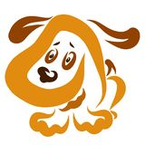 Cute little puppy with long ears and a nose in the shape of a heart.  vector illustration