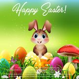Cute little rabbit with Easter eggs in a field. Illustration of Cute little rabbit with Easter eggs in a field vector illustration