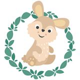 Cute Little Rabbit with Leafy Wreath. All elements are grouped together logically and easy to edit vector illustration