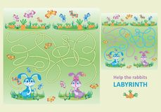 Cute little rabbits. Help the rabbits find their carrots. Royalty Free Stock Images