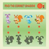 Cute little rabbits and squirrels. Find the correct shadow. Educational game for children. Cartoon vector illustration. Kids learning games collection Stock Images