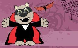 Cute little raccoon hug dracula costume halloween backgorund Royalty Free Stock Image