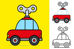 Cute little red cartoon windy car Royalty Free Stock Photography