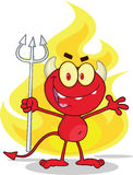 Cute Little Red Devil With A Pitchfork In Front Fire. Cartoon Character Stock Photos